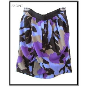 Banana Republic Purple Black Printed Tulip Skirt